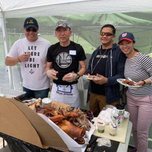 From left to right: members Roland Tenorio, Nestor Francisco, and Carlo Zialcita at the Filipino American Association of Tulare County Fiesta.