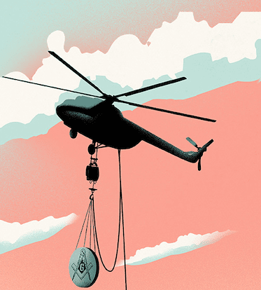 Illustrated helicopter hoisting giant Masonic cufflink into the air.