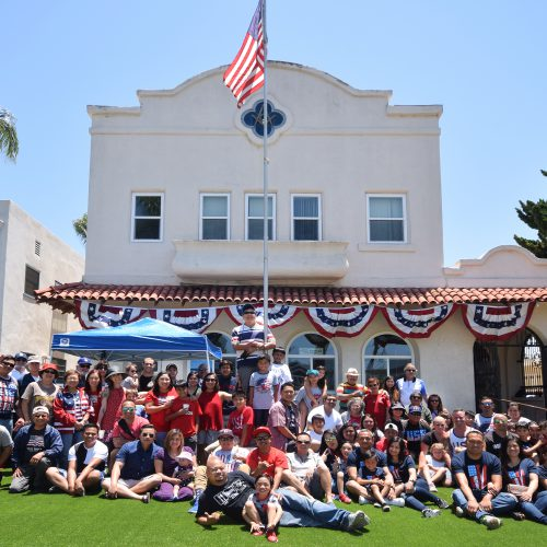 James Rualo (front, center) and members of Coronado Lodge No. 441 from last year's Fourth of July barbeque.