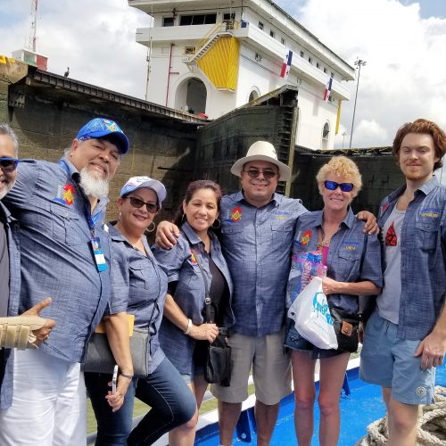 Raj Champaneri with friends and members of Downey United Lodge No. 220 during their trip to Panama in 2018.