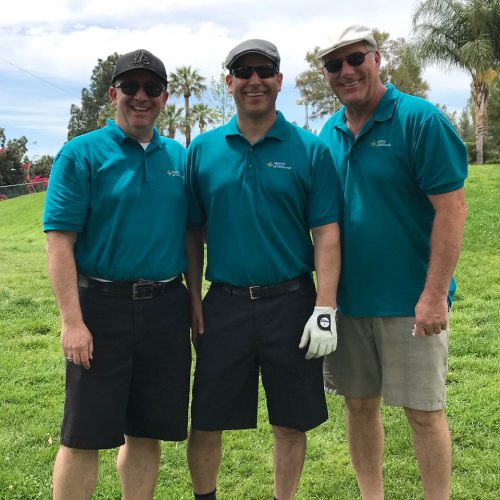 From left to right: Jeff Schimsky, Carlos Diez, and Rusty Roten at the Annual Job's Daughters Southern California Golf Tournament in Tarzana.