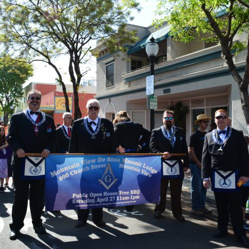 Toby Vanderbeek and members of Mountain View de Anza Lodge No. 194 celebrating their 150th lodge anniversary with a parade through downtown Mountain View.