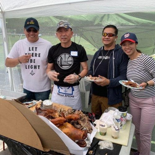 From left to right: members Roland Tenorio, Nestor Francisco, and Carlo Zialcita at the Filipino American Association of Tulare County Fiesta.